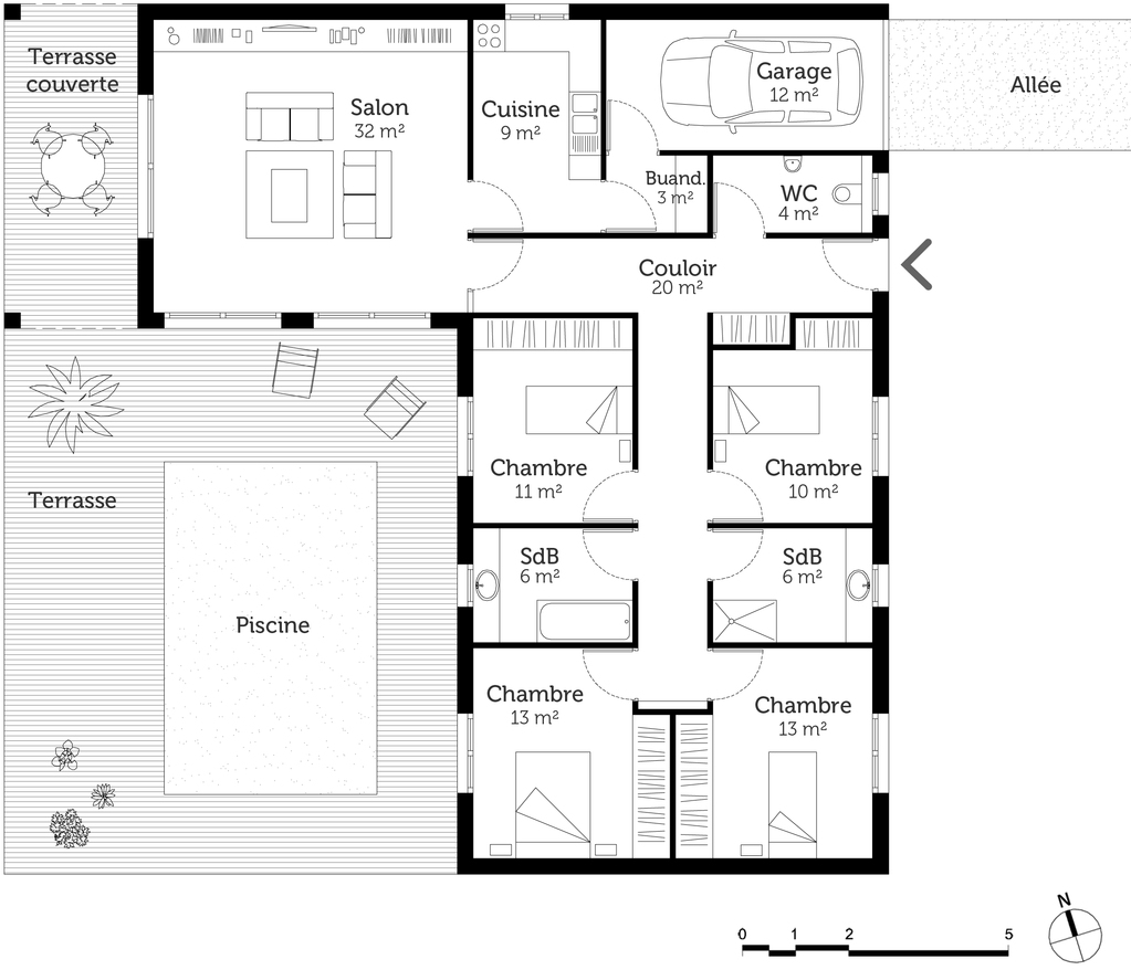 plan de maison à 4 chambres