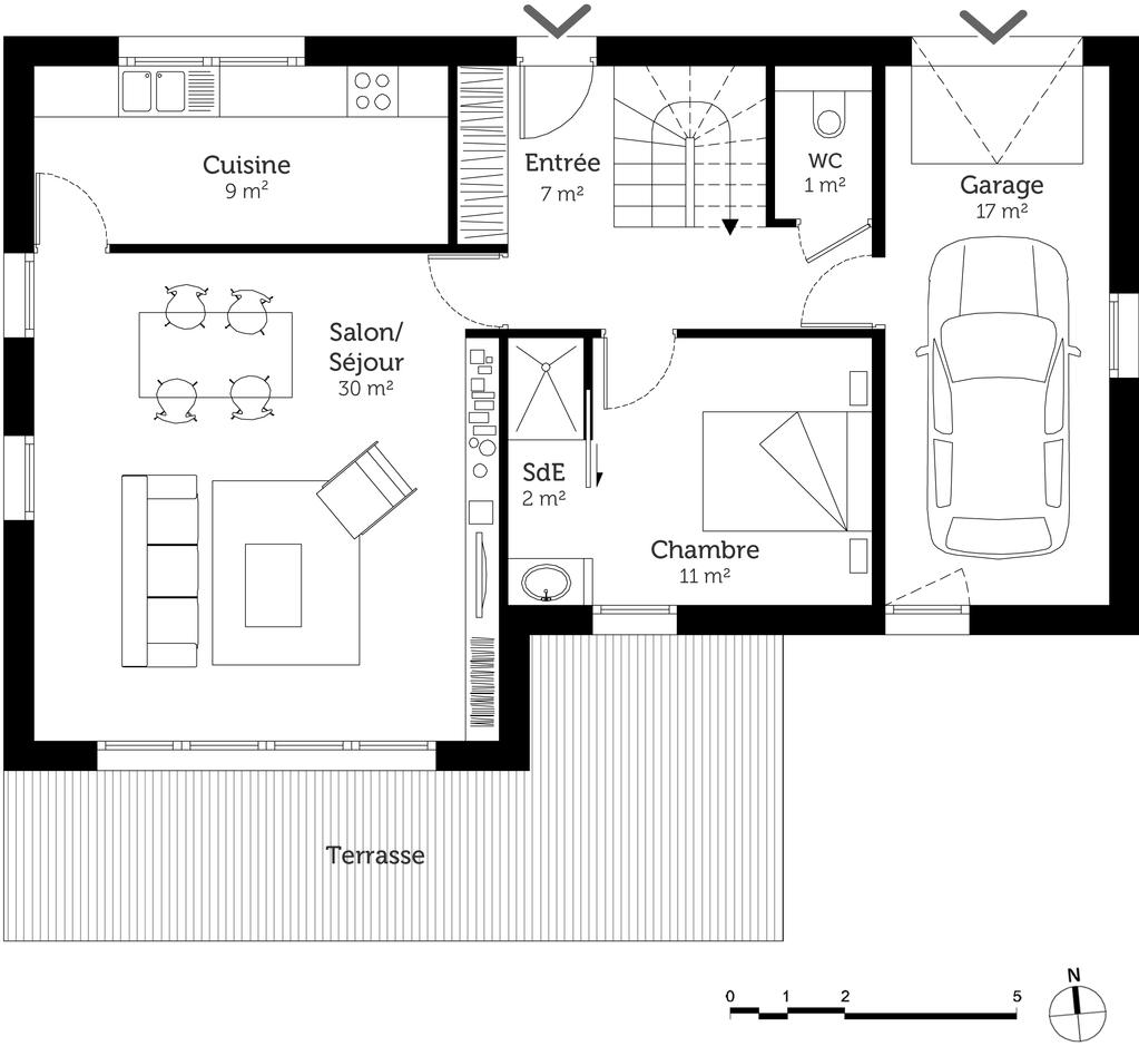 plan de maison rez de chaussée