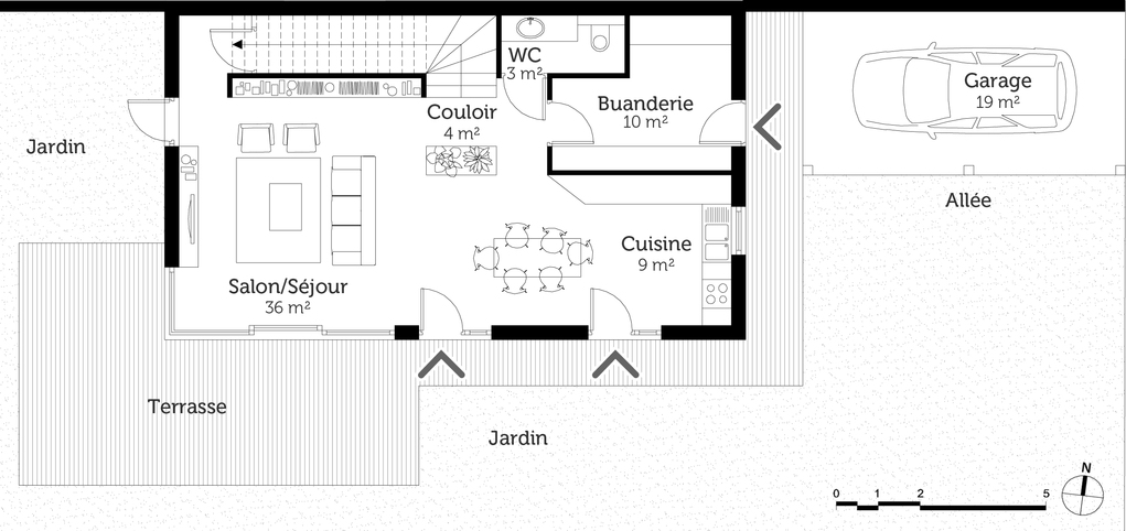 plan de maison rectangulaire
