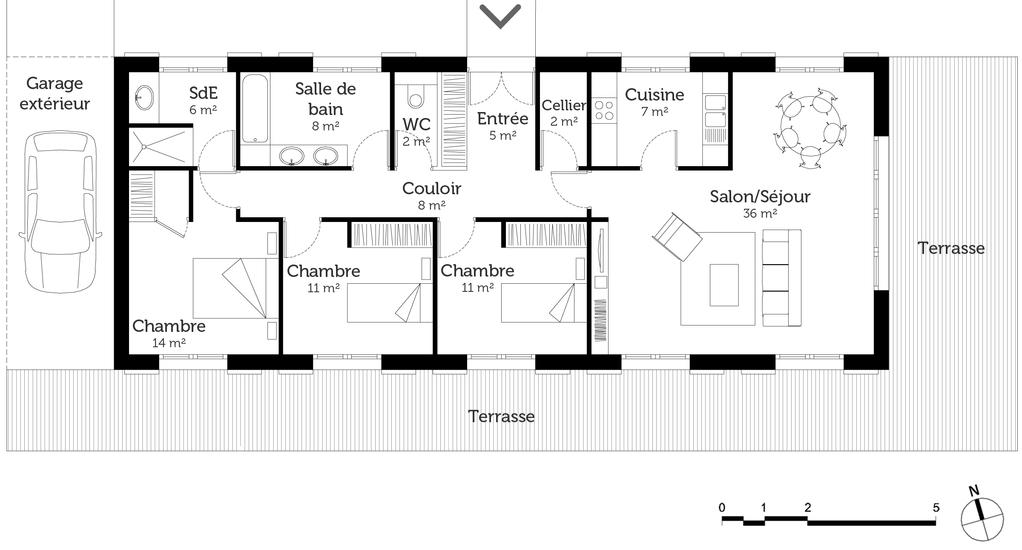 Plan maison de plain pied 110 m avec 3 chambres ooreka for Maison moderne 4 chambres plain pied