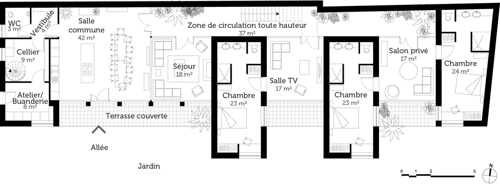 Plan maison d 39 h te design ooreka for Plan de maison zone llc