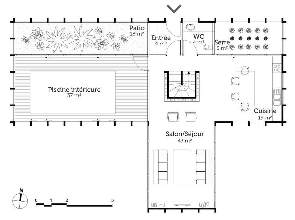 Plan maison avec piscine int rieure avie home for Plan piscine