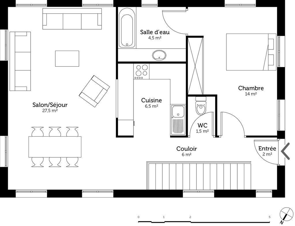 Plan maison tage sur terrain en pente ooreka for Plan de maison type