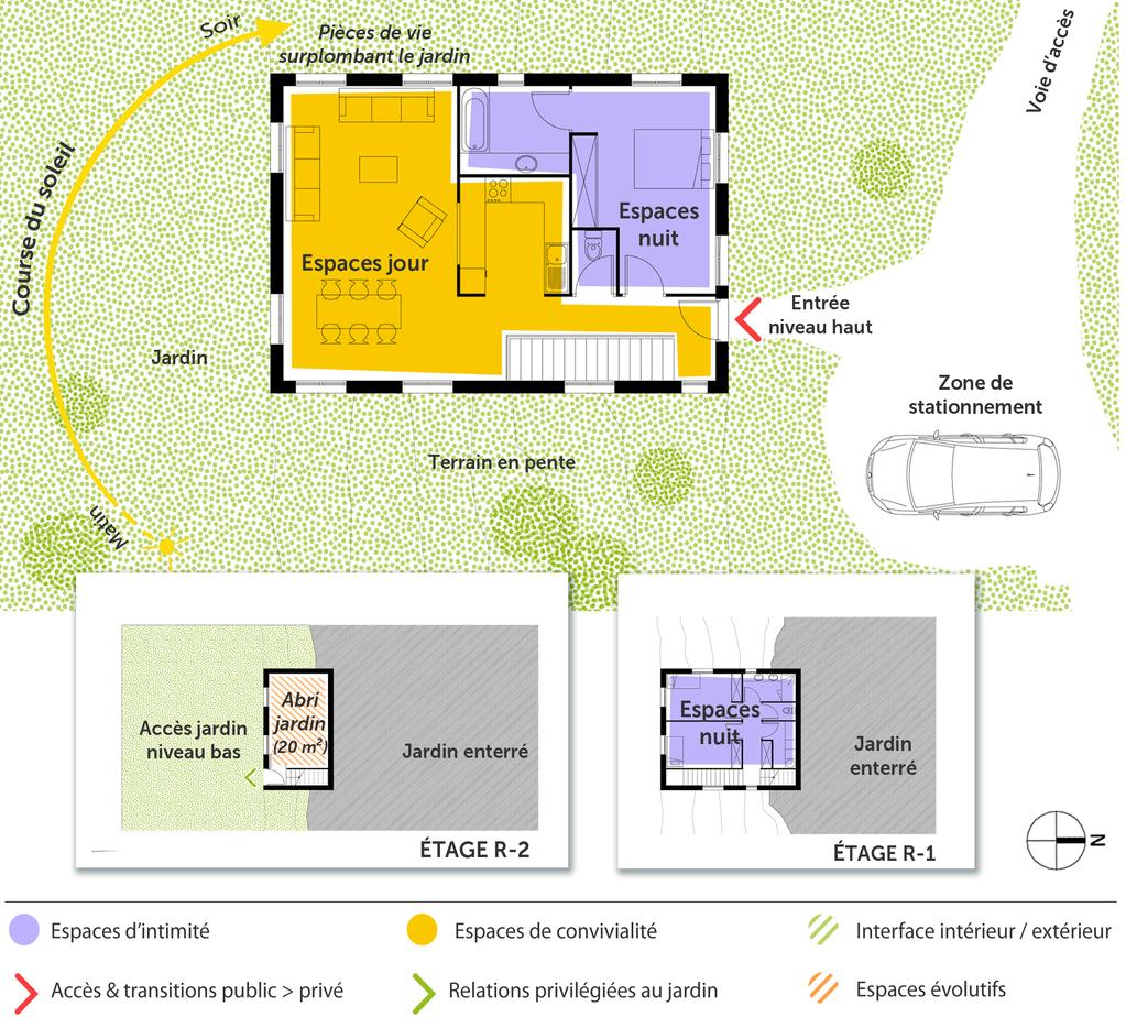 Plan maison tage sur terrain en pente ooreka - Plan maison entree sud ...