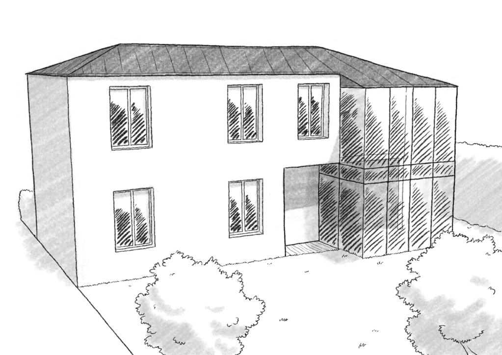 Esquisse 3D Plan de maison à étage avec véranda