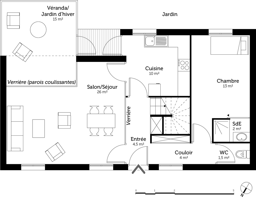 Plan maison tage avec v randa ooreka - Construire sa salle de bain en 3d gratuit ...