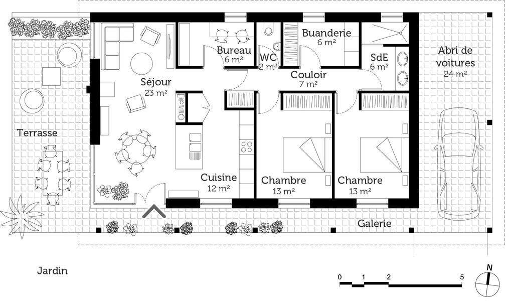 Plan maison de plain pied avec terrasse ooreka - Plan maison bioclimatique plain pied ...