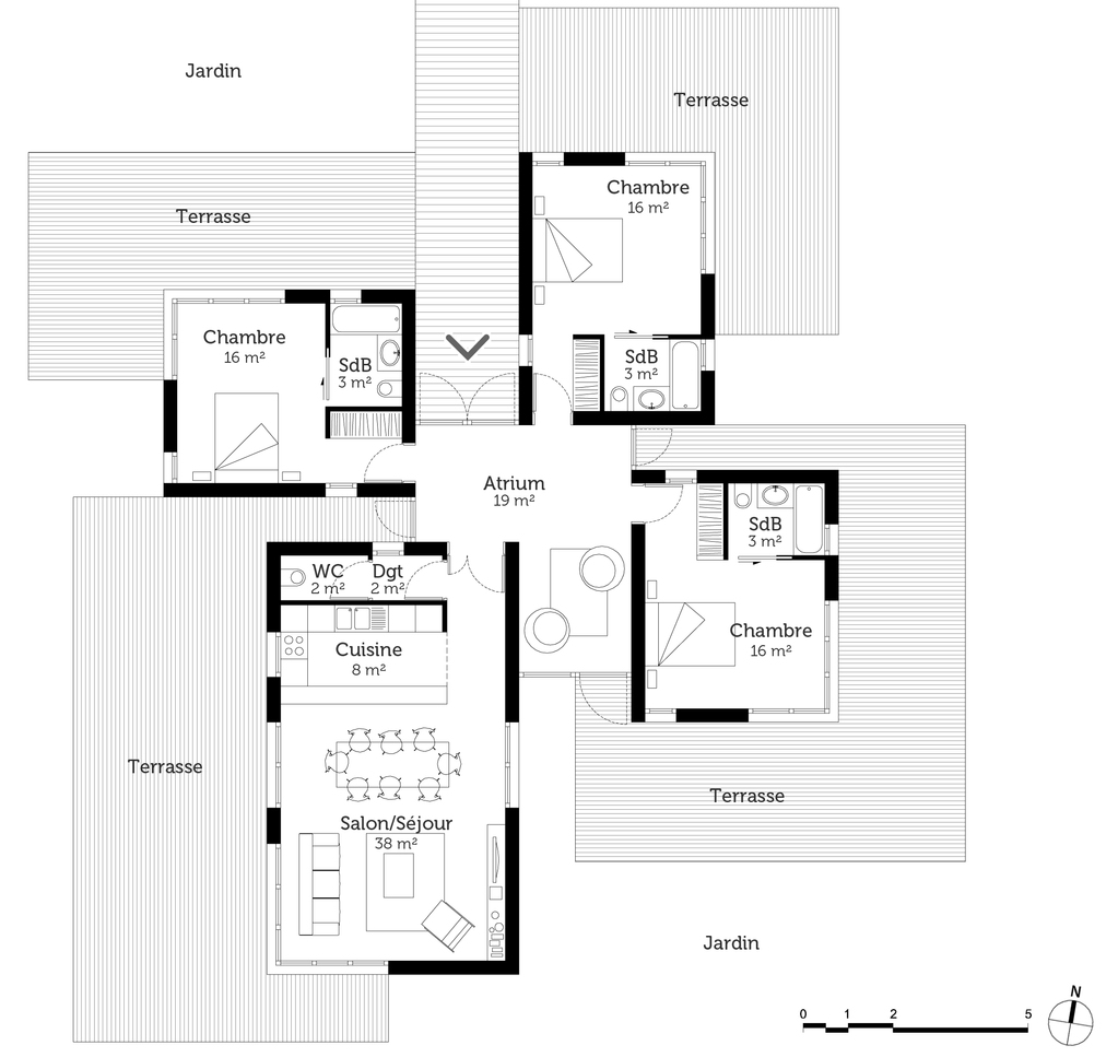 Plan maison contemporaine 120 m ooreka for Maison d architecte plan
