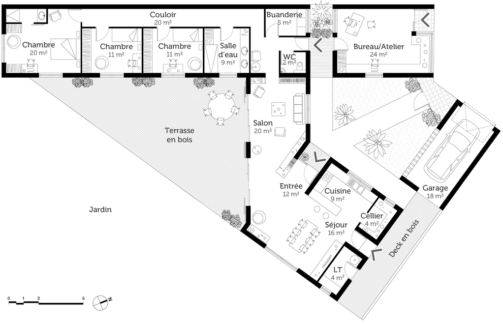 plan de maison moderne en v