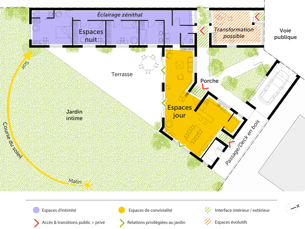 plan de maison sur un terrain triangle