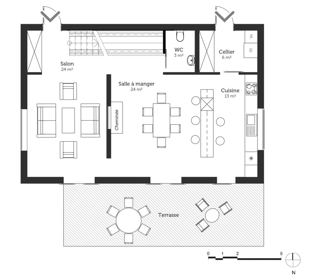 Modele Plaisir Sud Plan Maison 4 Chambres