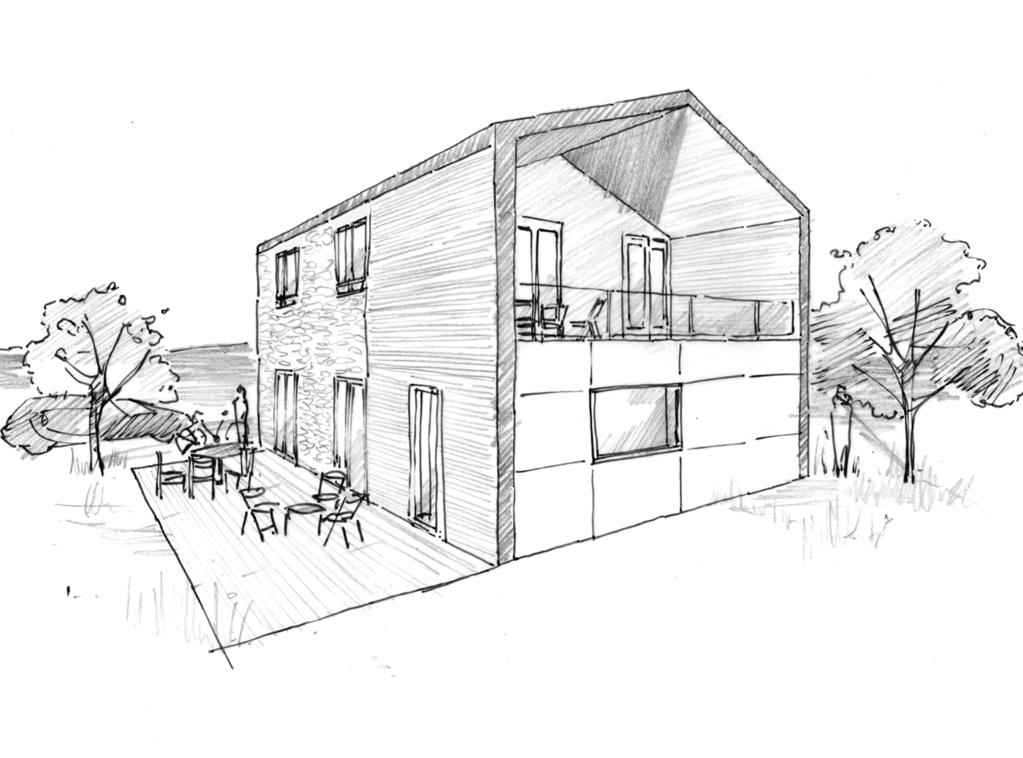 Plan maison avec balcon et terrasse ooreka for Maison jardin et terrasse 3d
