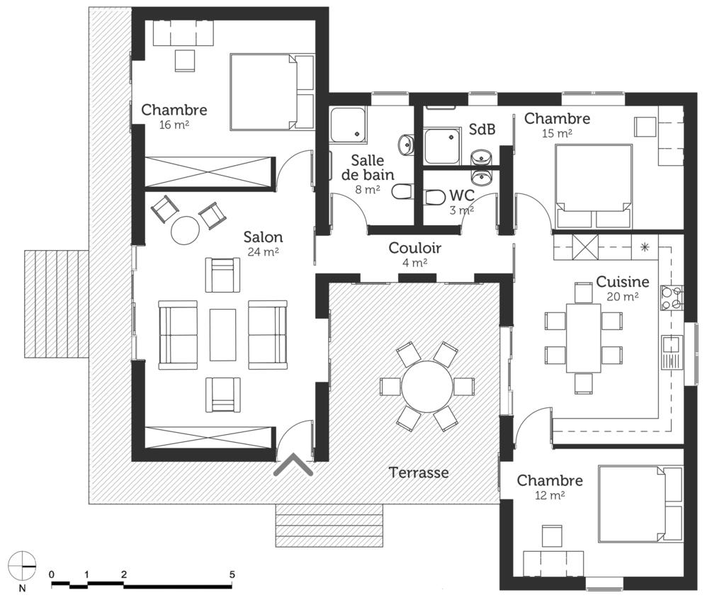Plan Maison En T Plan Maison 4 Chambres Plan
