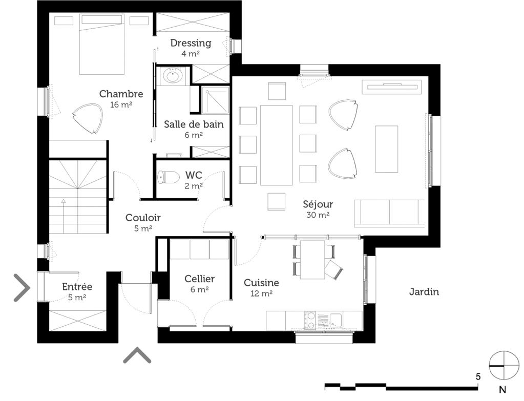 plan de maison de 120m