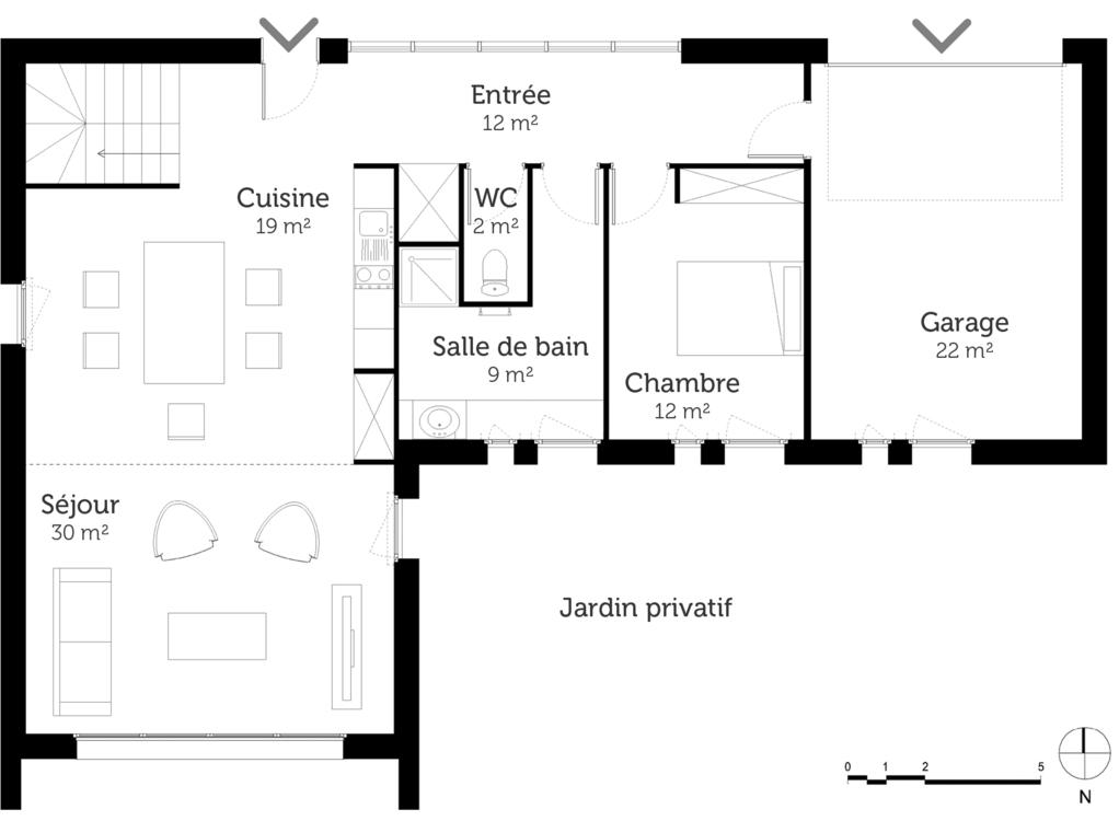 Plan maison de plain pied avec mezzanine ooreka for Bain pour les pieds maison