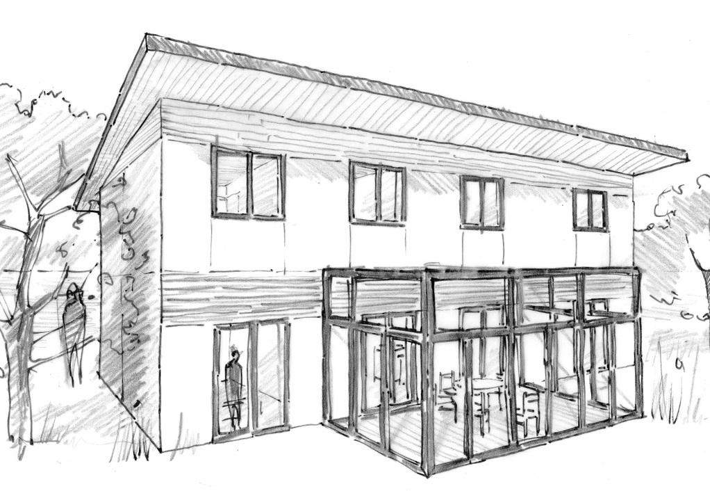 Esquisse 3D Plan de maison moderne avec véranda