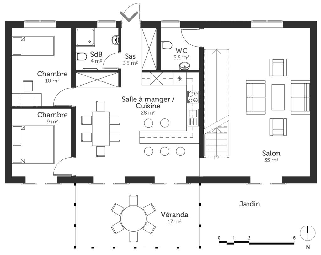 plan maison moderne avec v randa ooreka. Black Bedroom Furniture Sets. Home Design Ideas