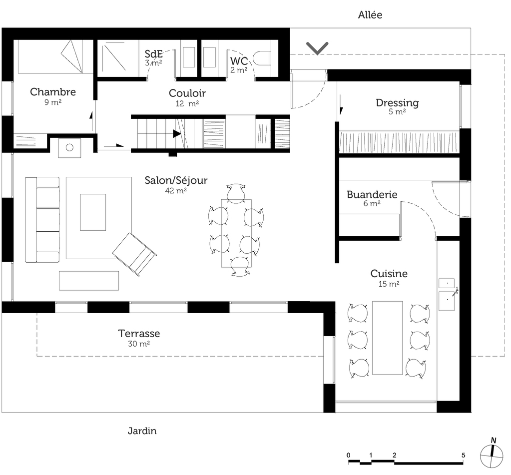 Plan maison tage avec 5 chambres ooreka for Plan maison 2 etages moderne