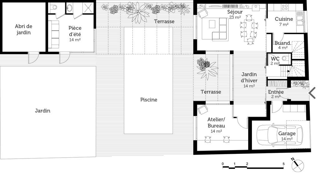 plan de maison en u avec piscine