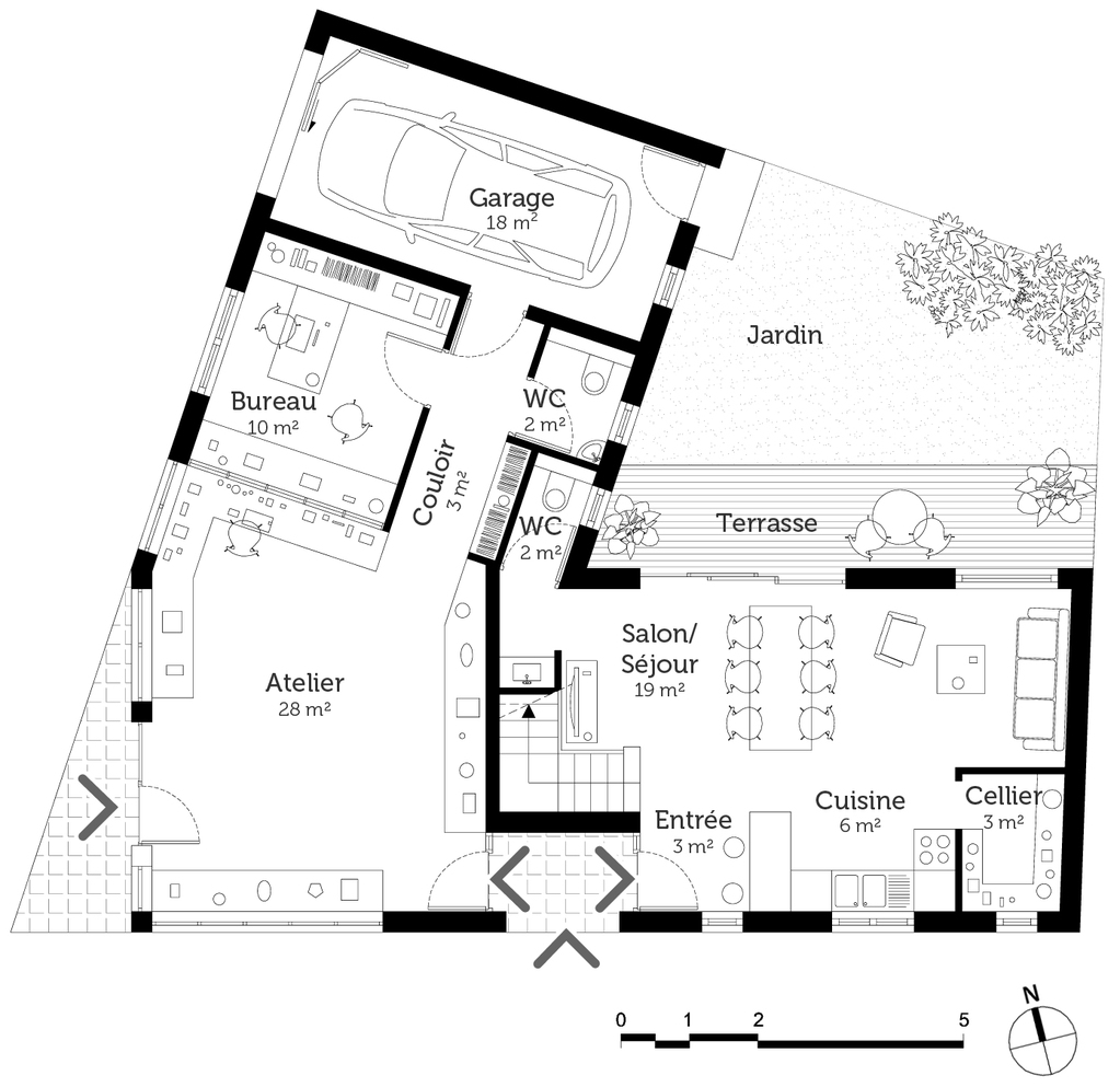 Plan maison avec local commercial ooreka for Commercial garage plans