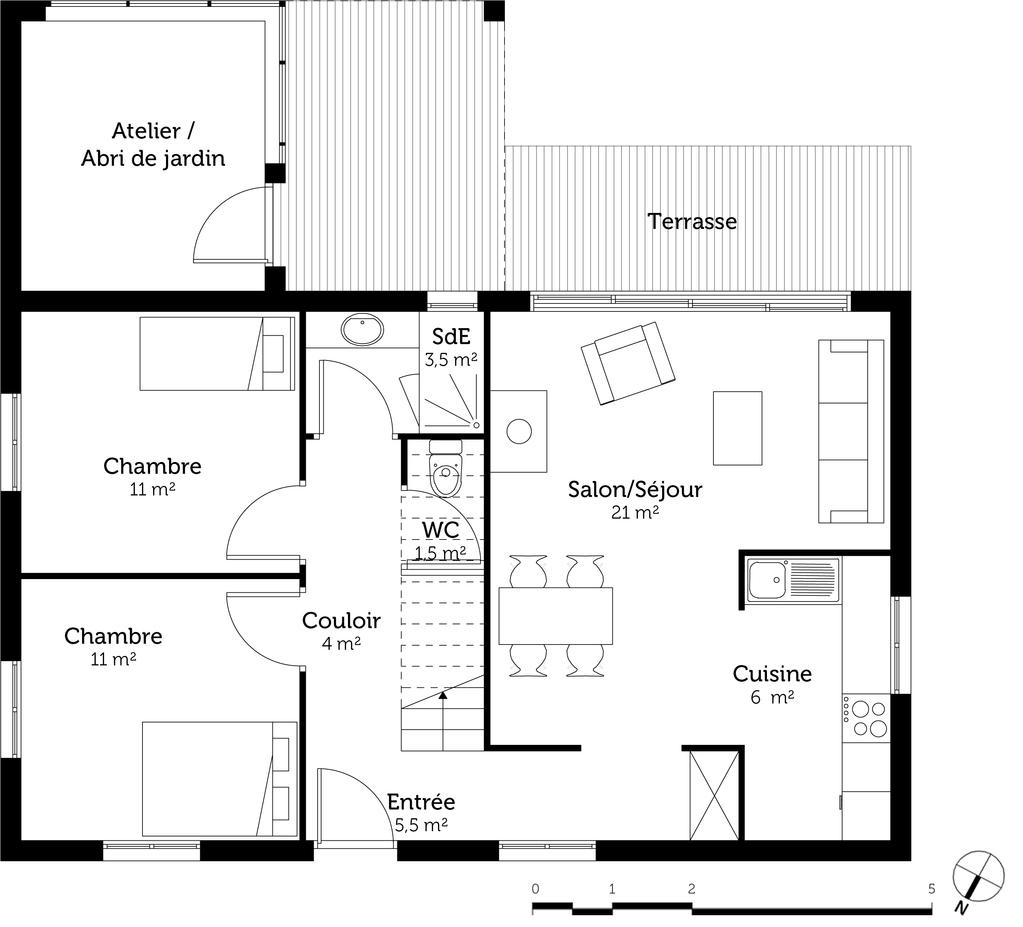 Plan maison 120 m avec 4 chambres ooreka for Fenetre de toit terrasse