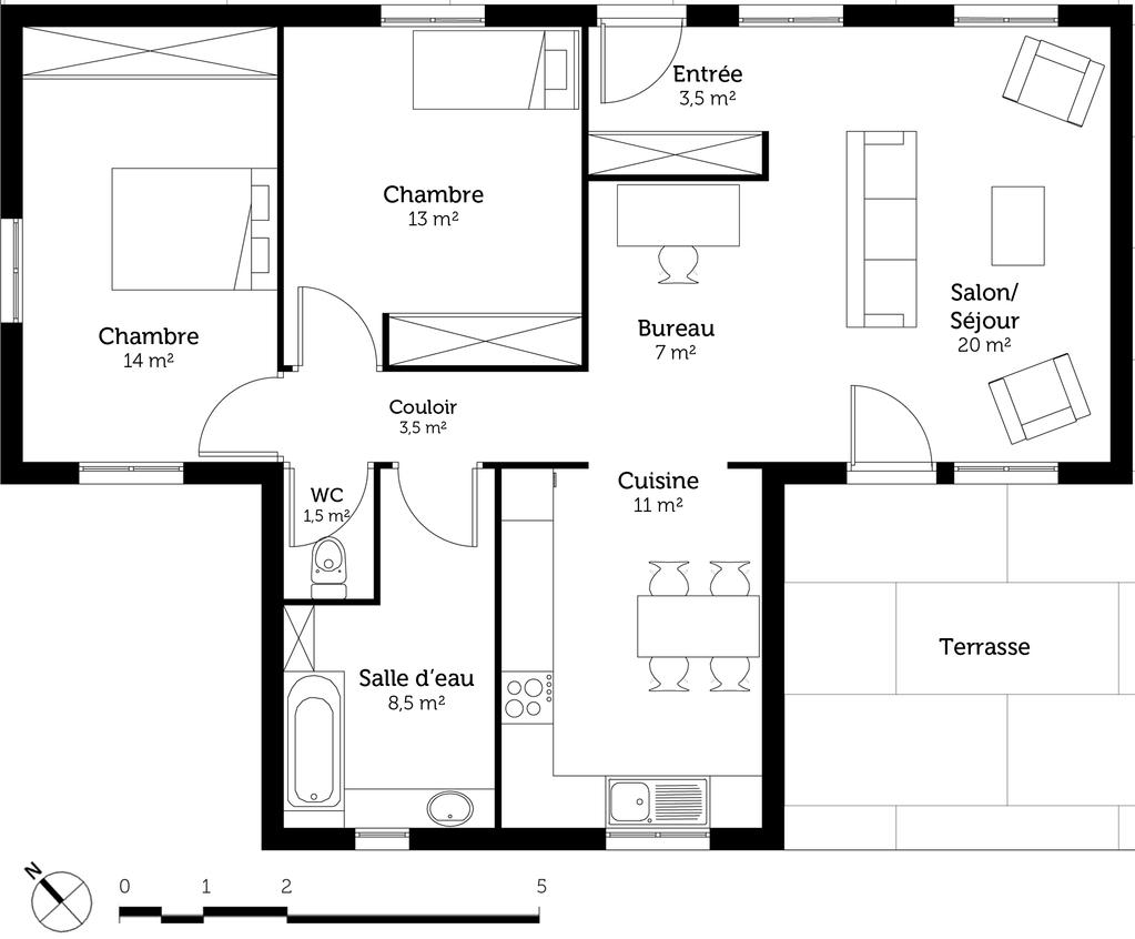 plan maison de plain pied toit plat ooreka. Black Bedroom Furniture Sets. Home Design Ideas