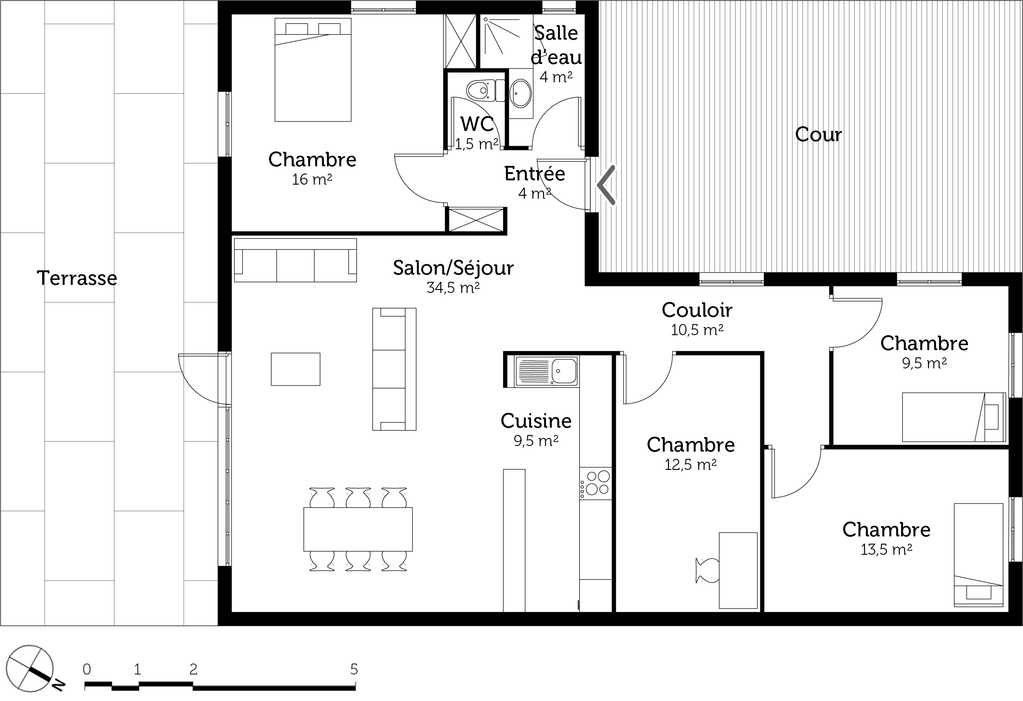 Plan maison en l de plain pied avec 3 chambres ooreka for Plan de maison construction
