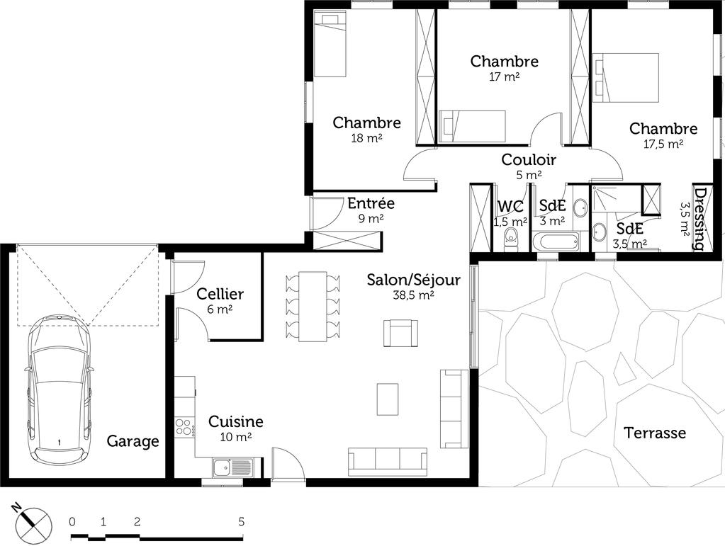 Plan maison plain pied avec 3 chambres et garage ooreka for Plan maison plain pied 4 chambres double garage