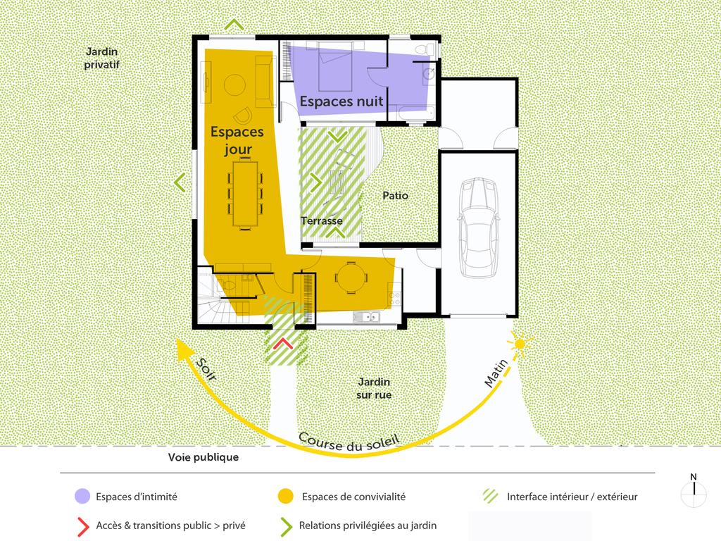 plan maison tage avec patio ooreka. Black Bedroom Furniture Sets. Home Design Ideas