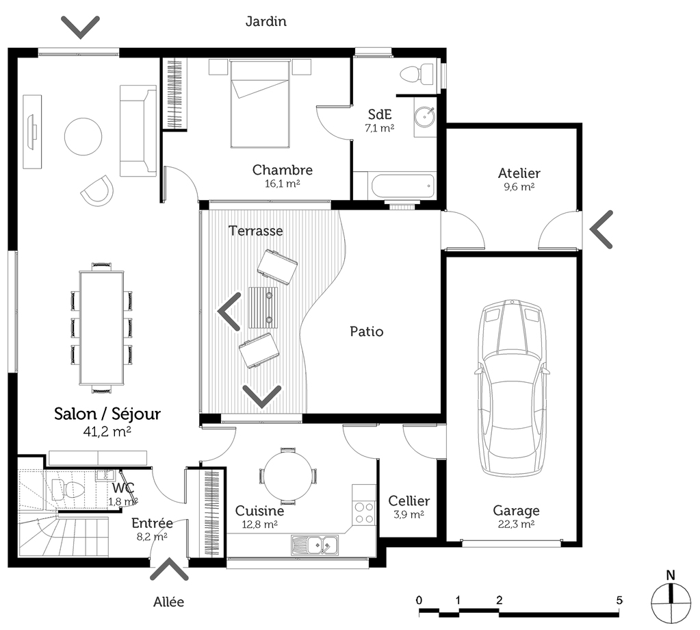 plan de maison avec patio
