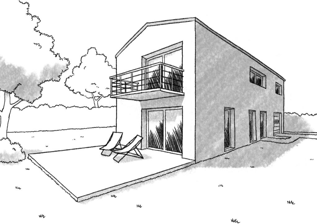 Esquisse 3D Plan de maison de 120 m² avec balcon