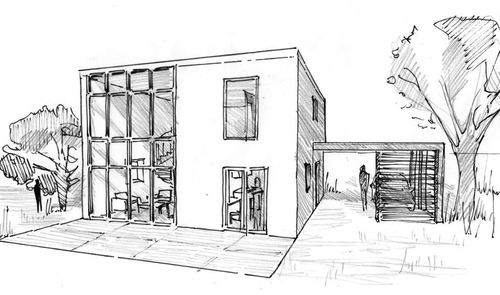 Esquisse 3d plan de maison cubique à étage