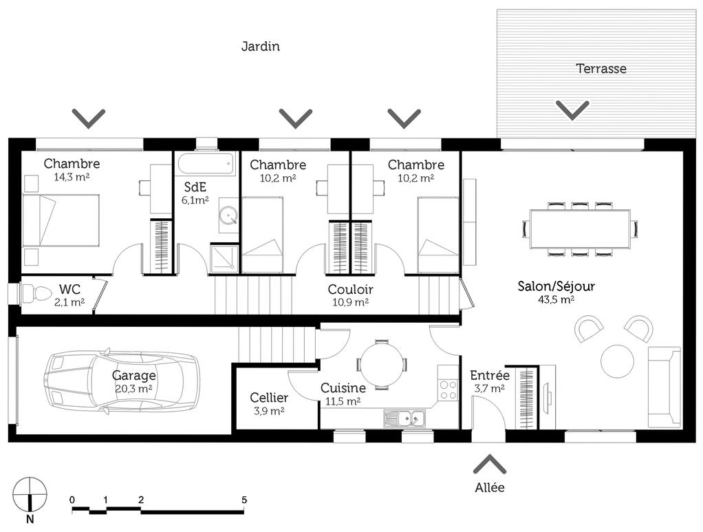 Plan maison de plain pied sur terrain en pente ooreka - Plan maison entree sud ...