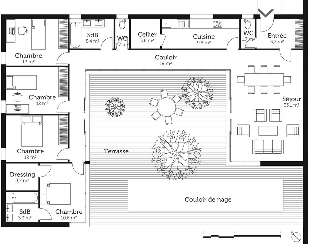 Plan maison en u avec 4 chambres ooreka for Plan maison 4 chambres