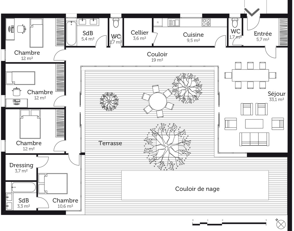 Plan maison en u avec 4 chambres ooreka for Plan 3d chambre