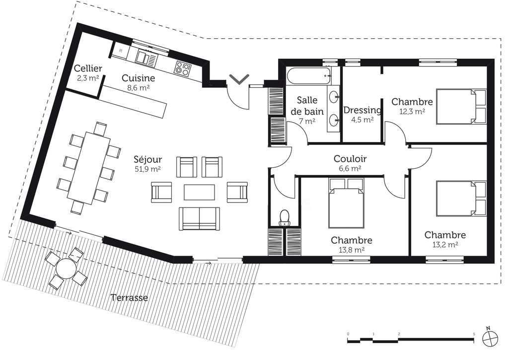 Plan maison en v avec 3 chambres ooreka for Construction maison 3d