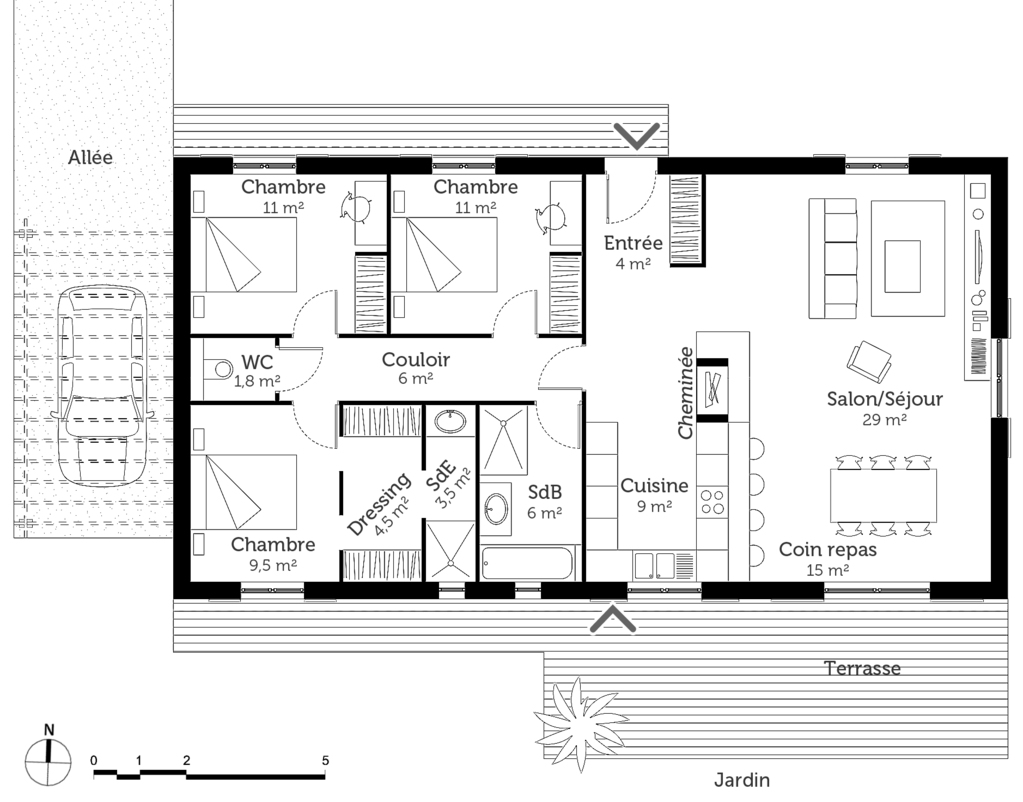 Plan maison 100 m avec 3 chambres ooreka - Plan maison 3 chambres etage ...