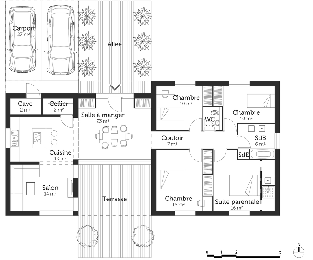 Plan maison 120 m avec suite parentale ooreka for Plan maison 120
