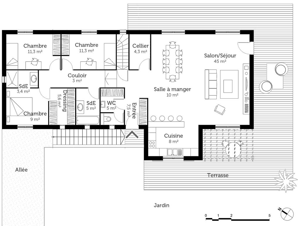 plan de maison en t