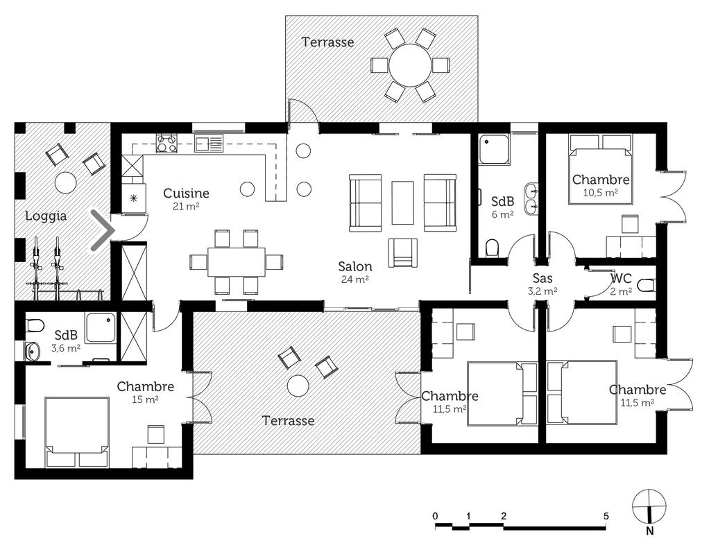 plan maison de plain pied avec loggia ooreka. Black Bedroom Furniture Sets. Home Design Ideas