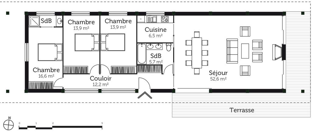 plan maison rurale 120 m ooreka. Black Bedroom Furniture Sets. Home Design Ideas