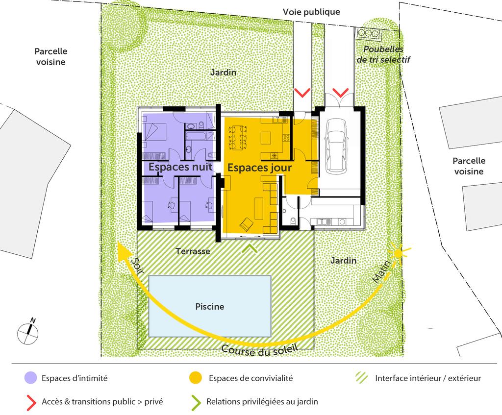Plan maison contemporaine de plain-pied avec 3 chambres ‒ Ooreka