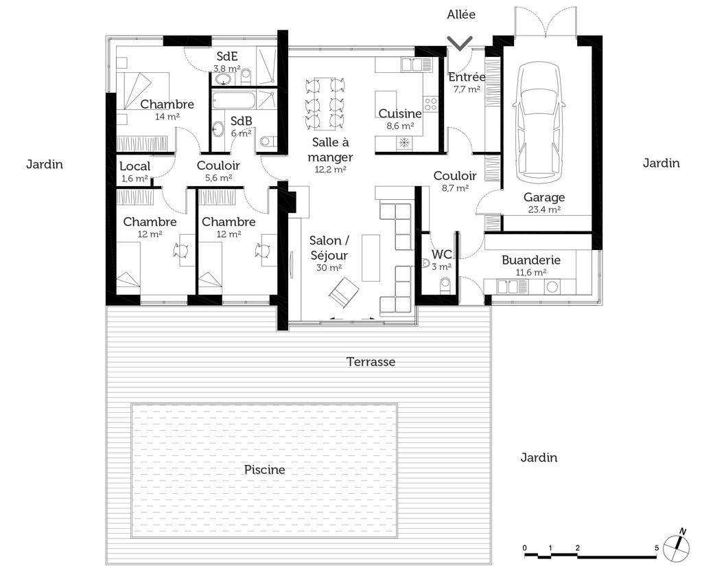 plan de maison 3 chambres plain pied