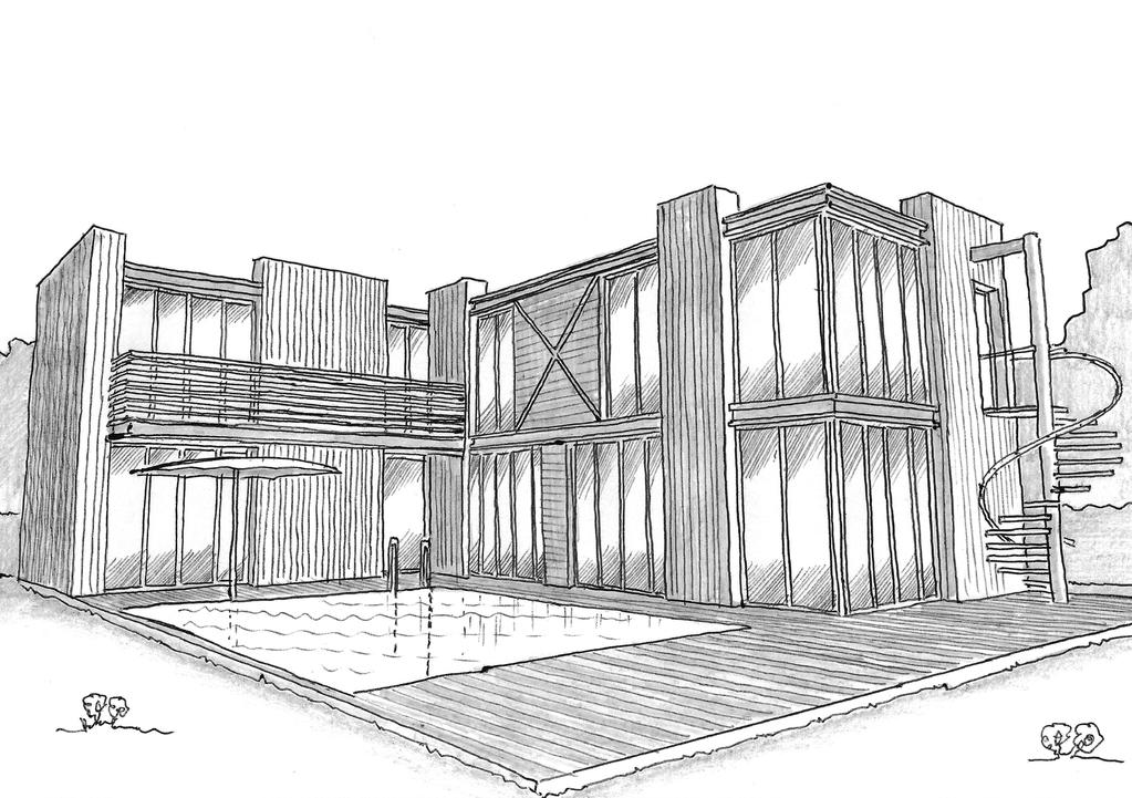 esquisse 3d plan de maison design avec piscine