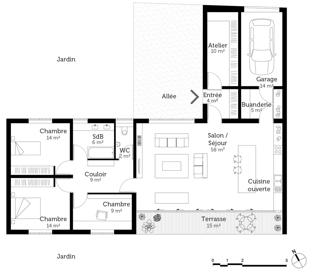 Plan maison en l de plain pied avec garage for Plan de garage