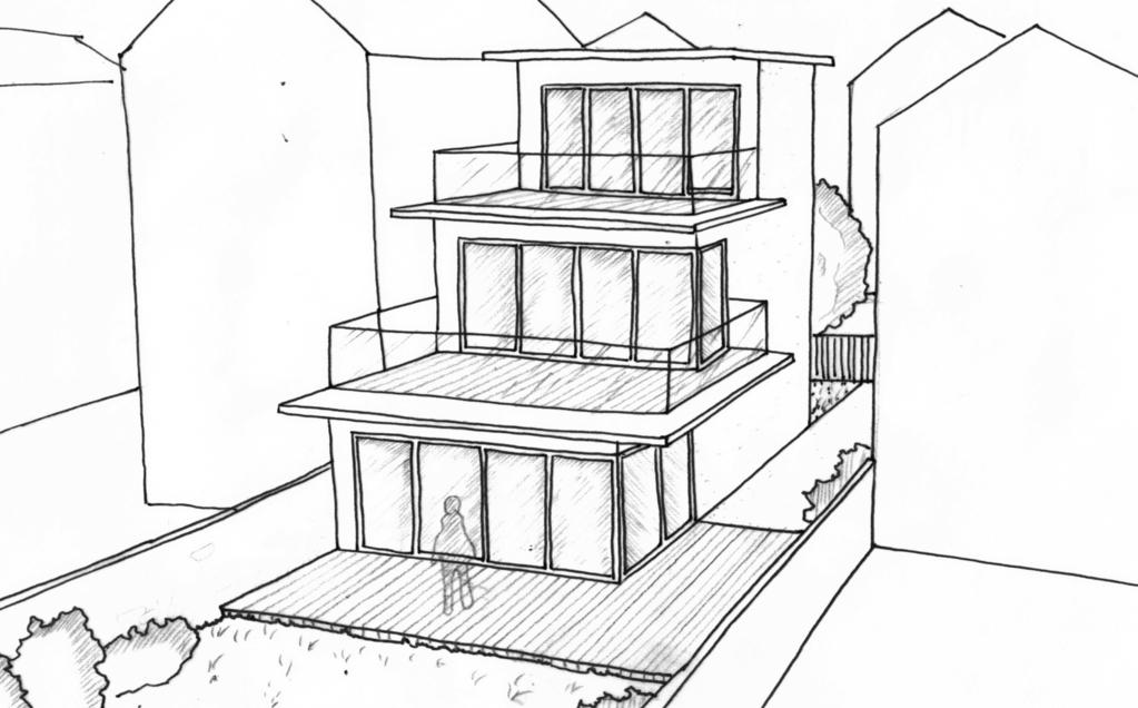 Esquisse 3D Plan de maison de 100 m² avec terrasse