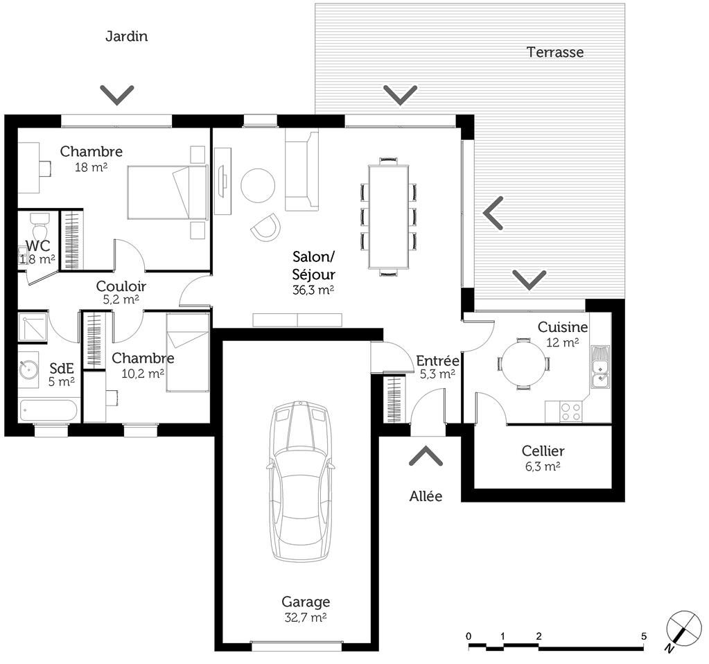 plan de maison 2 chambres salon cuisine douche