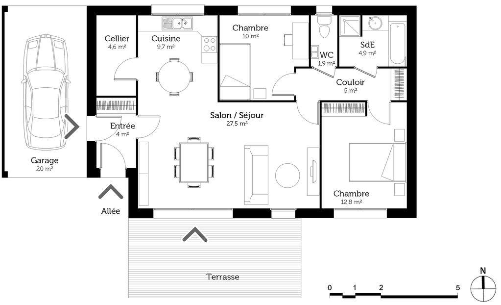 Plan Maison Traditionnelle 80 M² - Ooreka