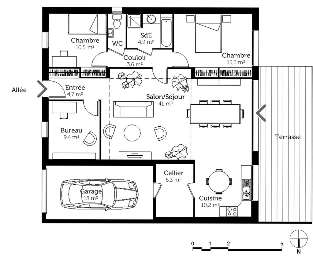 Plan maison cubique de plain pied ooreka for Construction maison plain pied plan