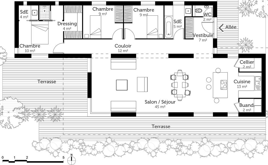 Plan maison moderne 120 m ooreka - Les 4 pieds plan de campagne ...